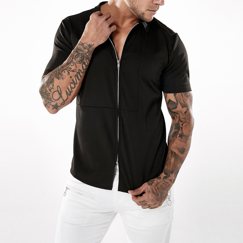 Mens Fashion Zipper Solid Color Summer Short Sleeve Casual S