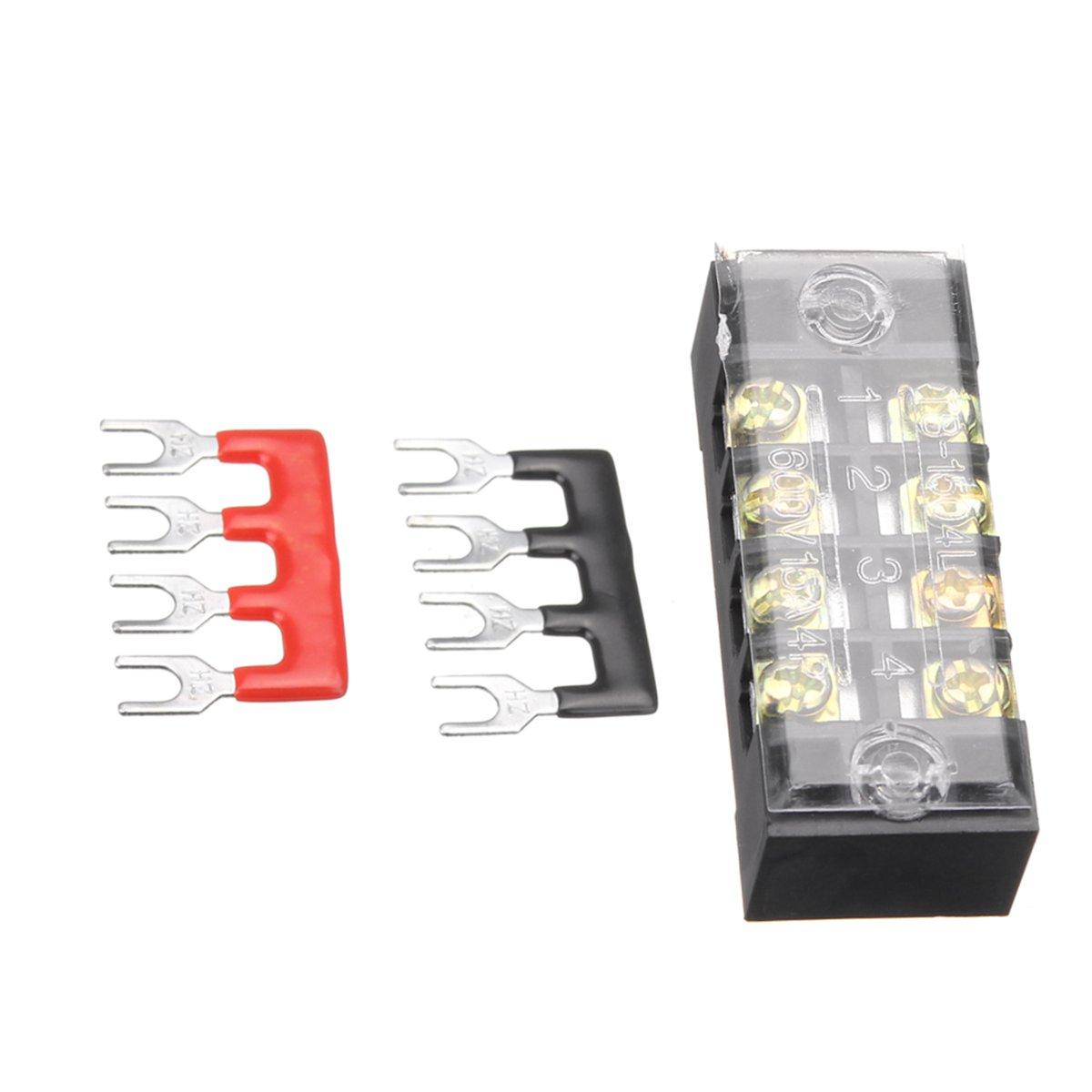 600V 15A Dual Rows 4 Position Screw Terminal Strip Red/Black Pre Insulated Terminal Block Strip