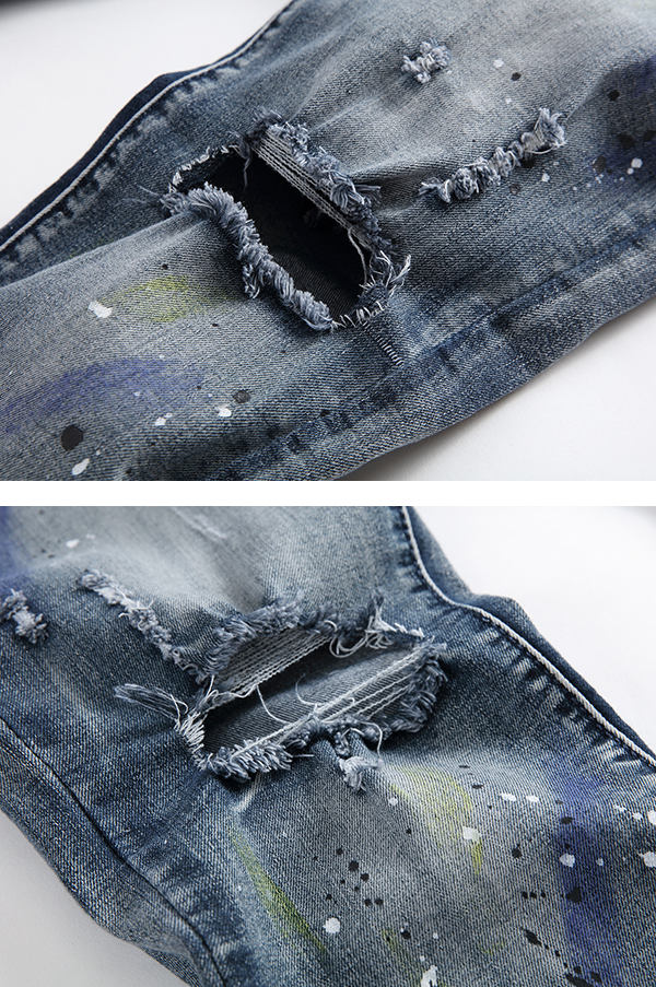 Men Hole Ripped Splashed Painting Fashion Washed Elastic Jeans