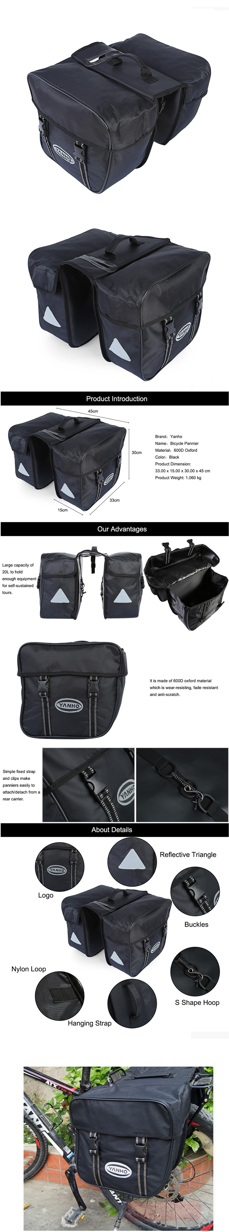 YANHO Mountain Road Bike Back Seat Bag 600D Oxford Cloth 3 in1 Bicycle Cycling Accessory Bag