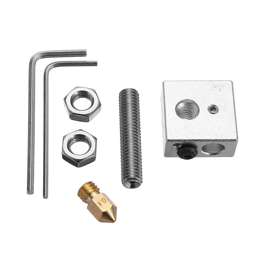 Image of 0,4 mm Messing Düse + Aluminium Heizblock + 1,75 mm Düse Throat 3D Drucker Teil Satz mit M6 Schrauben &amp 1,5 mm Schraubenschlüssel