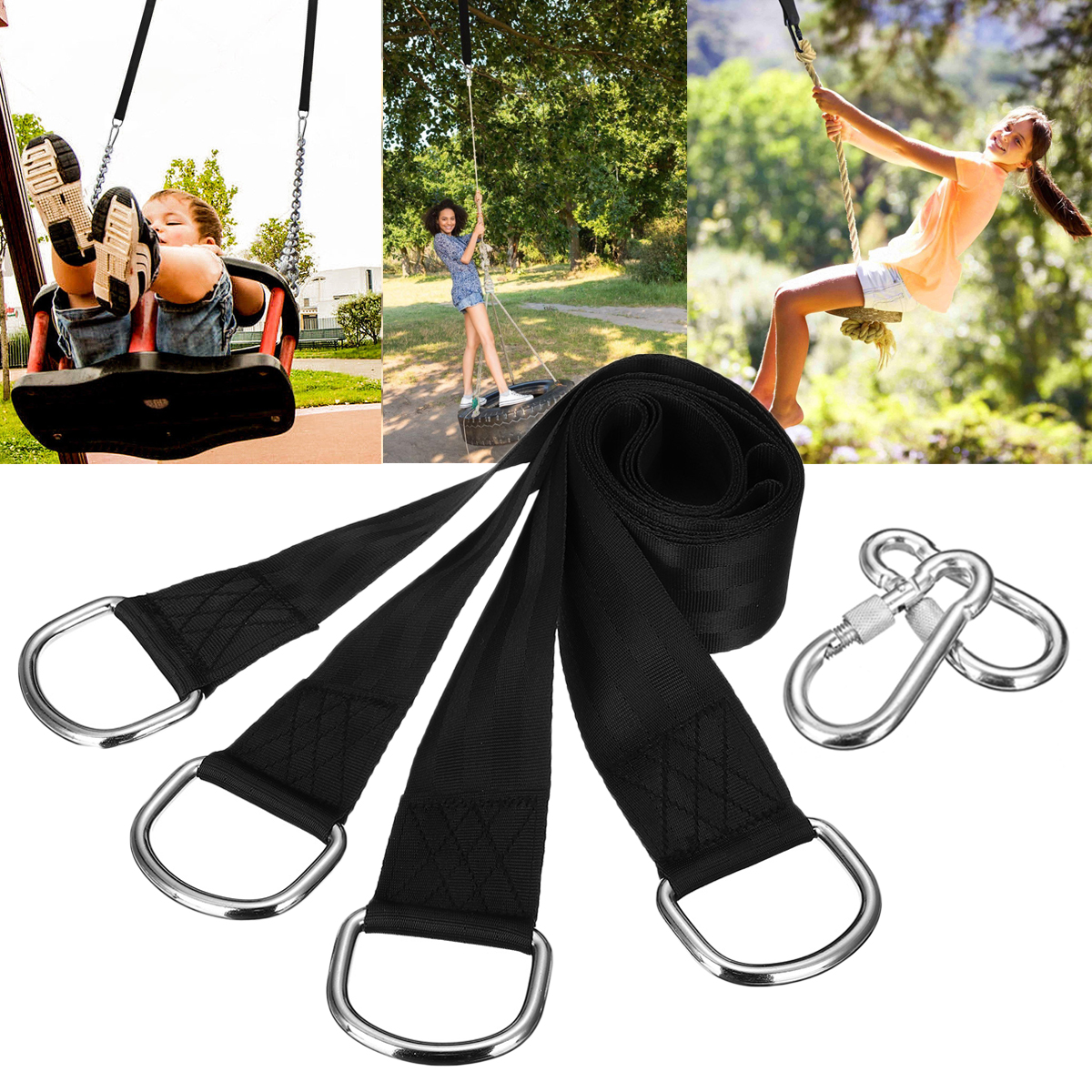 150cm Tree Swing Straps Set Tree Hanging Hammock Rope Straps Kit with Carabiner Hook