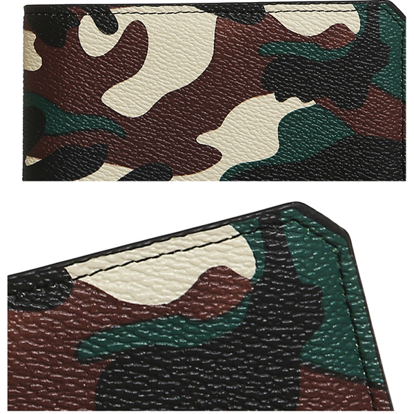 1 cm Thinness Men PU Leather Camo Short Wallet Minimalist Vintage Card Holder
