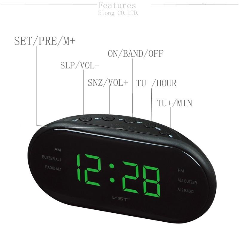 VST ST-3 Led AM FM Radio Digital Brand Alarm Clock Backlight Snooze Electronic Designer Home Table Clock Radio Despertador Digital Led