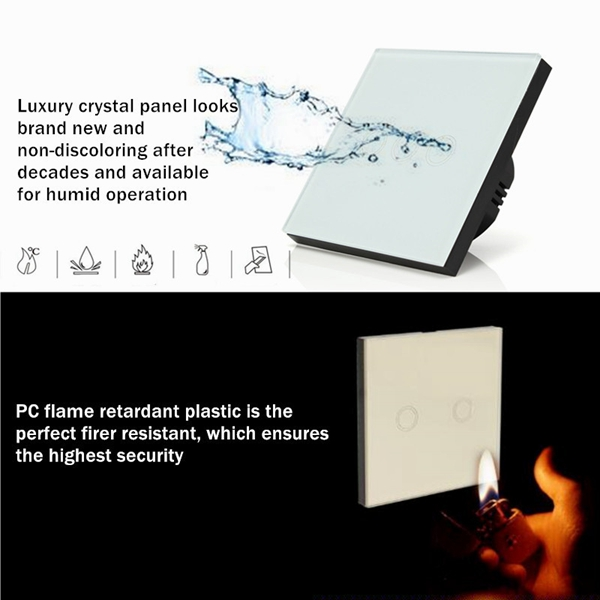 1 Way 3 Gang Crystal Glass Panel Touch Light Wall Switch Remote Controller
