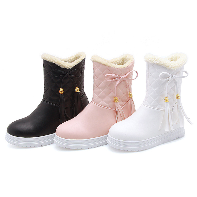 Warm Flat Platform Slip On Causal Soft Ankle Snow Boots