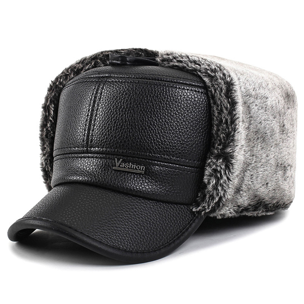 Unisex PU Leather Earflap Ear Muff Military Hat Faux Fur Plush Linen Pilot Trapper Ruissan Cap