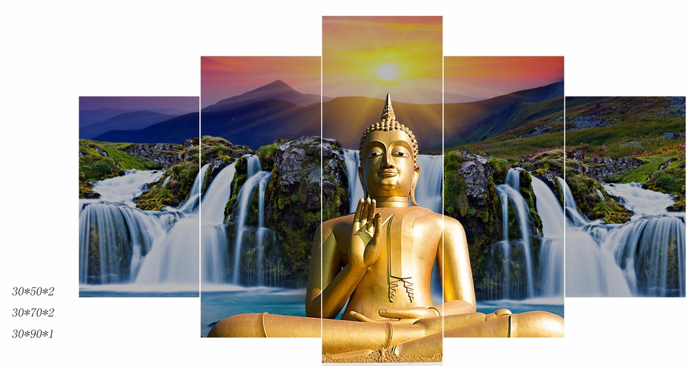 Frameless BUDDHA Modern Wall Decor Art Oil Painting On Canvas Abstract Painting Large SET Paper Art