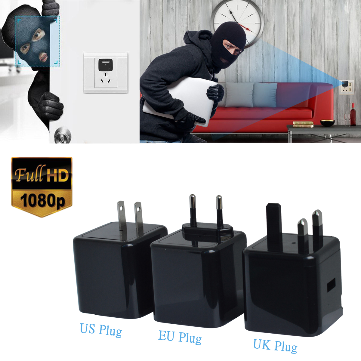 1080P Night Vision Charging Adapter Hidden Camera Wireless Camcorder Charger Plug Cam