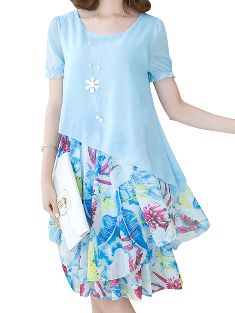 Casual Women Printed Patchwork Short Sleeve Irregular Layered Dresses