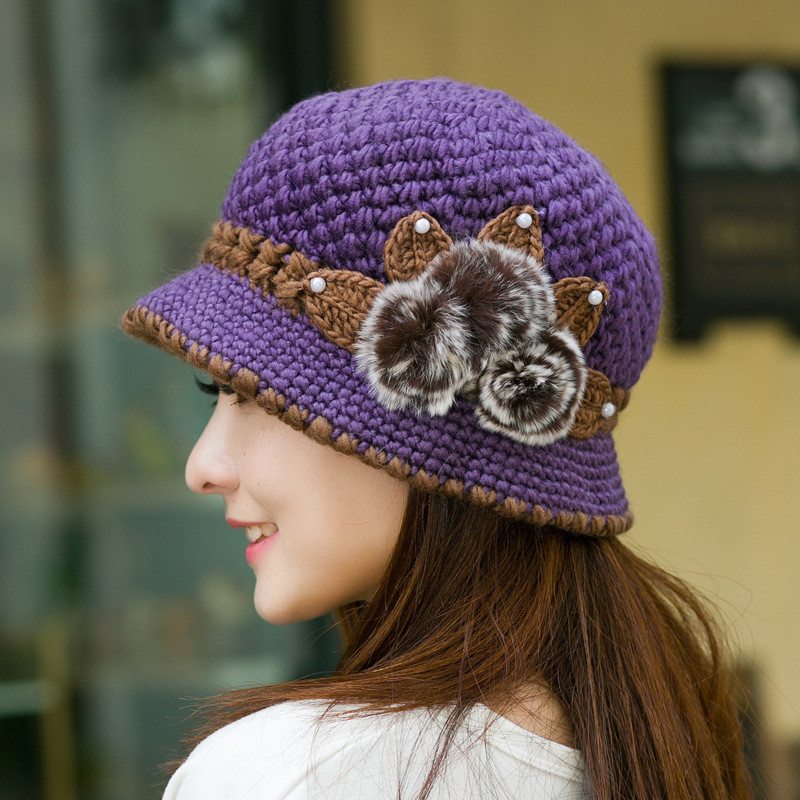 Women Ladies Knitting Crochet Faux Rabbit Fur Beanie Hat Beret Knitted Ski Cap