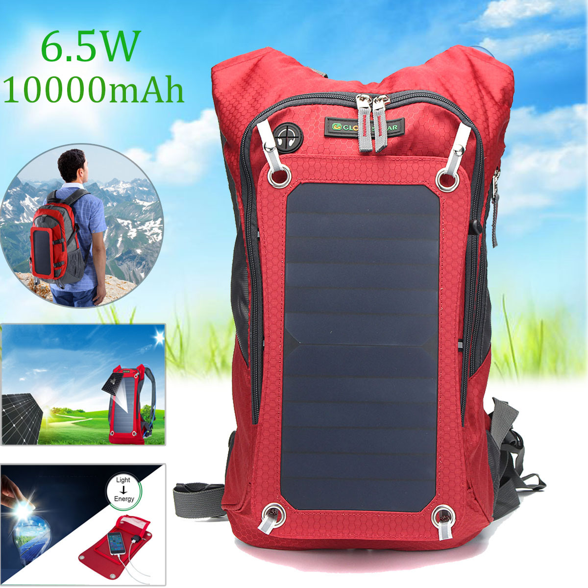 Outdoor Travel Bag 6.5W Solar Panel USB Powered Detacha
