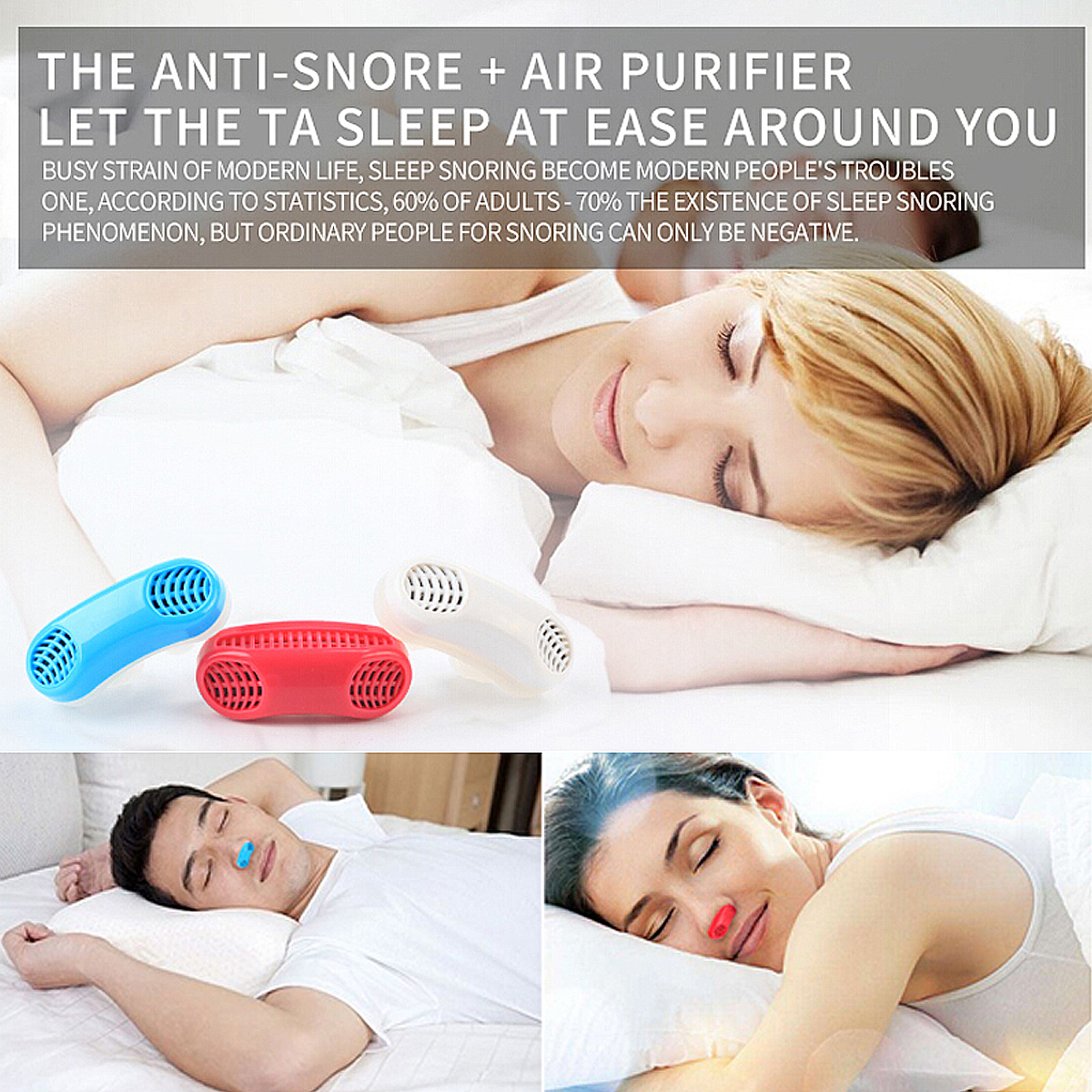 Soft Silicone Anti Snore Device Nasal Dilators Stop Snoring Nose Clip Air Purifier