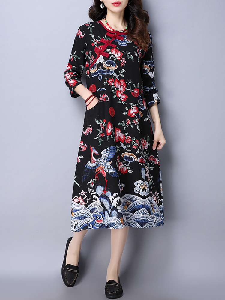 Folk Style Women Frog Button Pocket Printed Long Sleeve Slim Dress