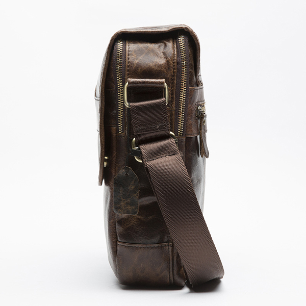 Men Vintage Casual Sling Bag Fashion Square Bag Cowhide Crossbody Bag for Leisure