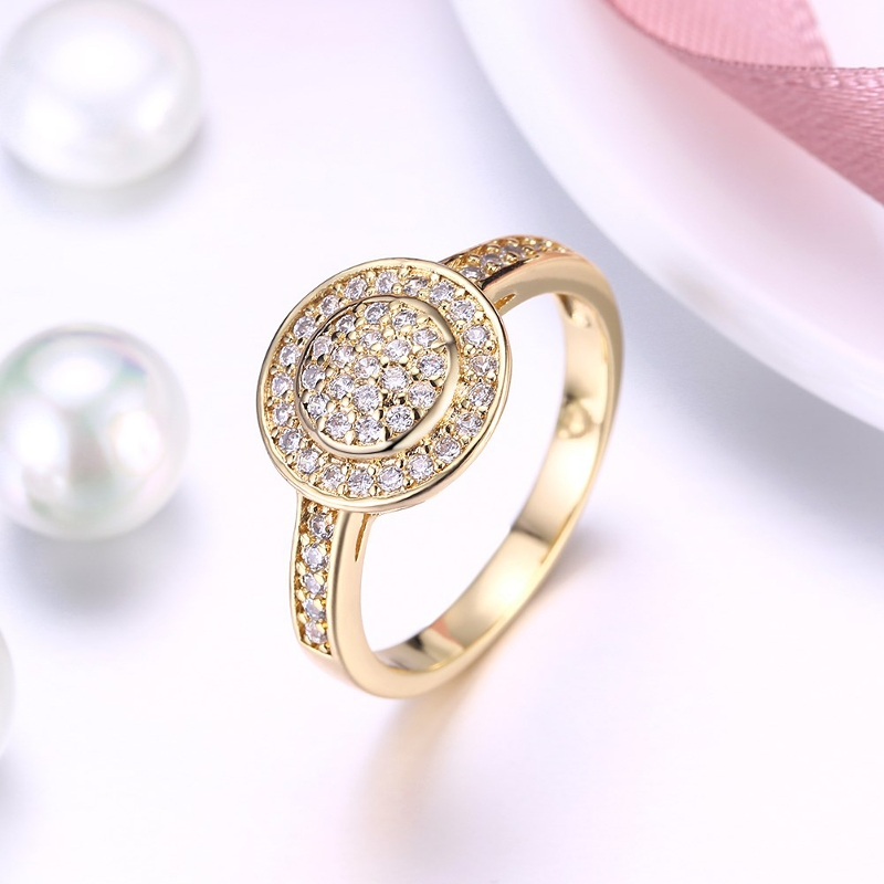 INALIS Copper Gold Plated Women Rings Zircon Engagement