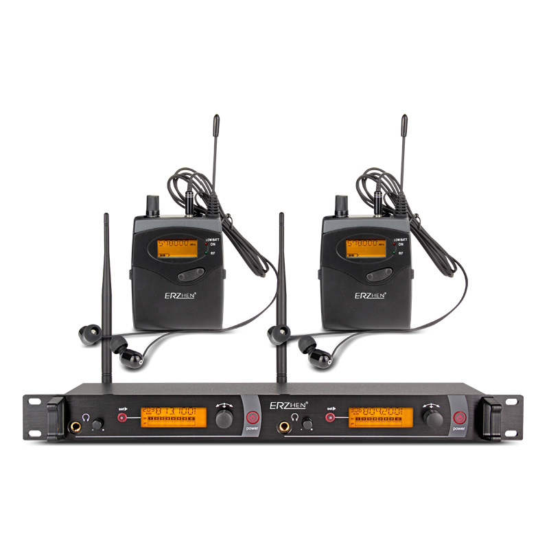 ERZhen EM2050 In Ear Wireless Stage Monitor System 2 Channel 2 Bodypack Karaoke Microphone System
