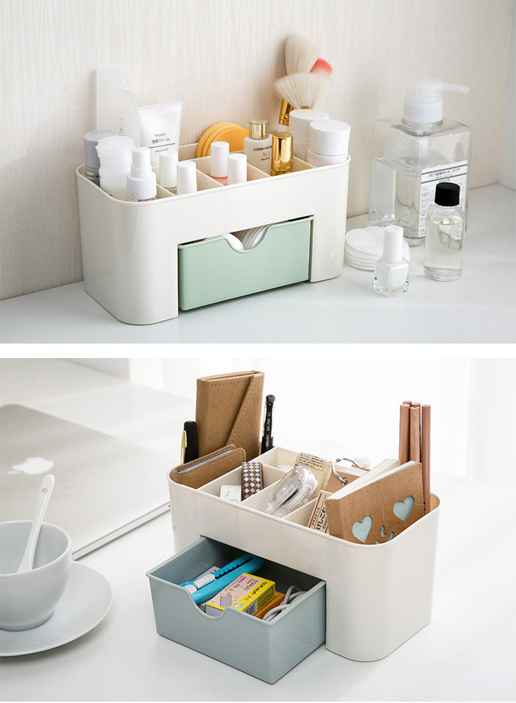 Multi-functional Plastic Cosmetic Storage Box Jewelry Box With Small Drawer Desk Sundries Storage Container Organizer