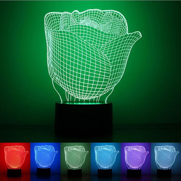 3D Illuminated Illusion Color Changing Rose LED Desk Night Light Lamp