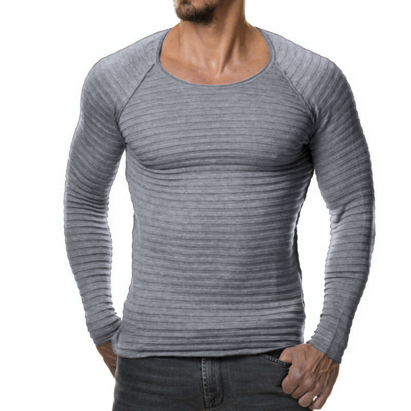 Men's Fashion Knitted Striped Fit Overhead Casual Sweaters