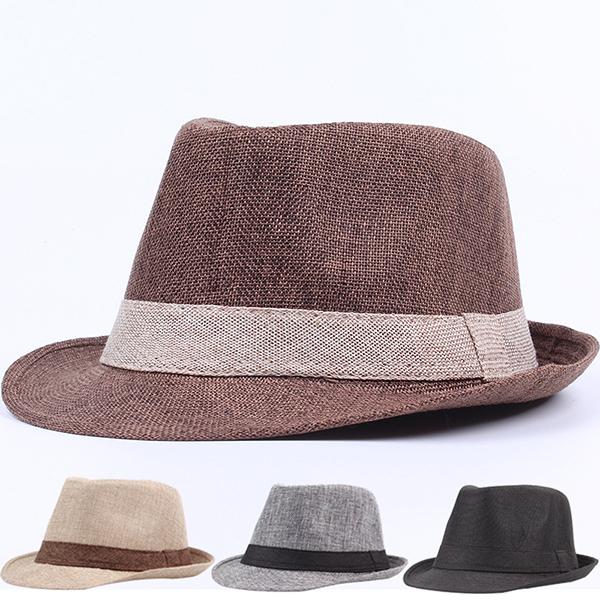 Men Unisex Linen Breathable Panama Fedora Jazz Dad Hats
