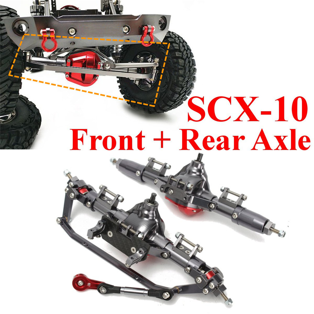 2PCS CNC Aluminum Front + Rear Rock Bridge Axle for AXIAL Honcho Jeep SCX10 1/10 Rc Car Parts