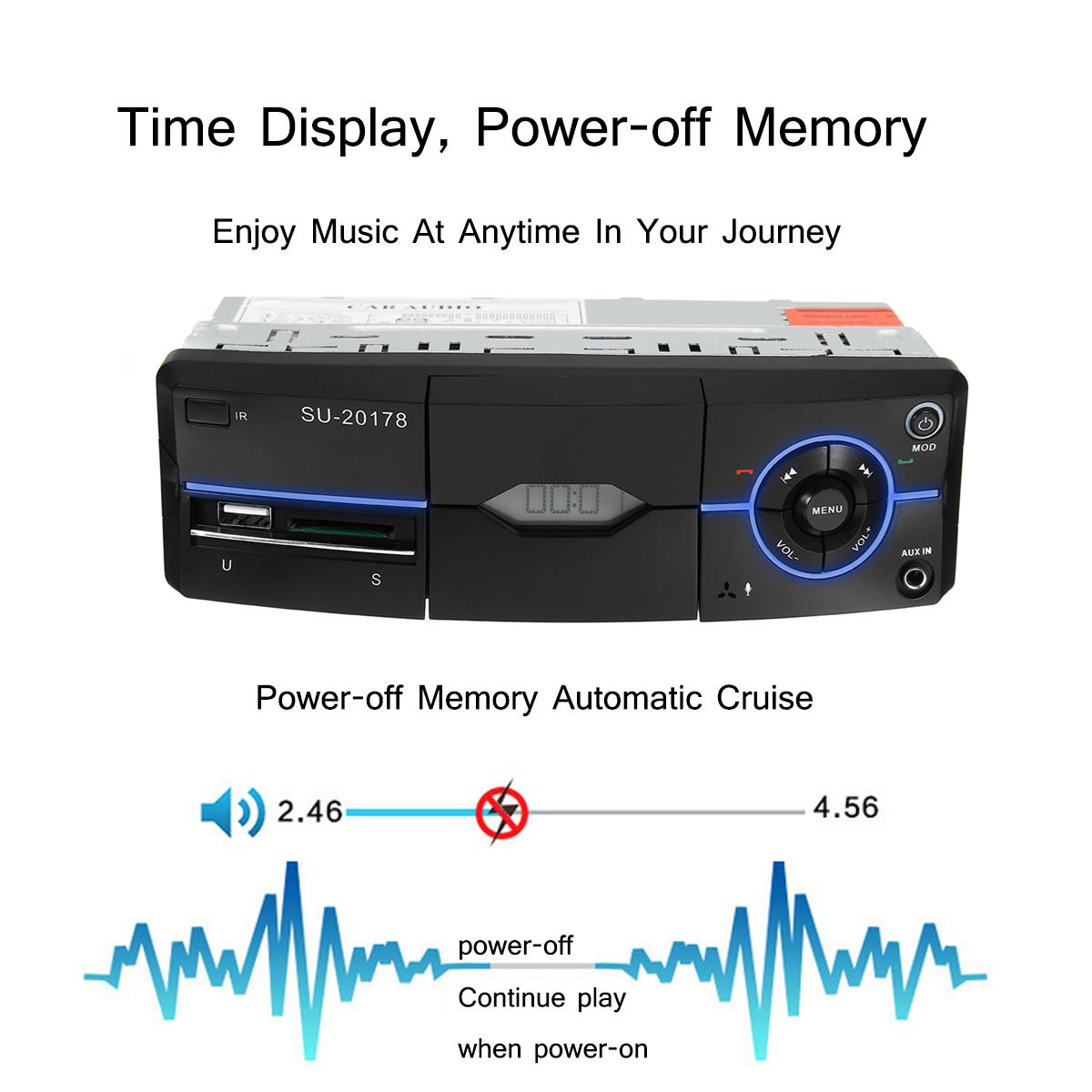 Bluetooth Car Stereo FM Radio SD/USB/AUX RC MP3 Player