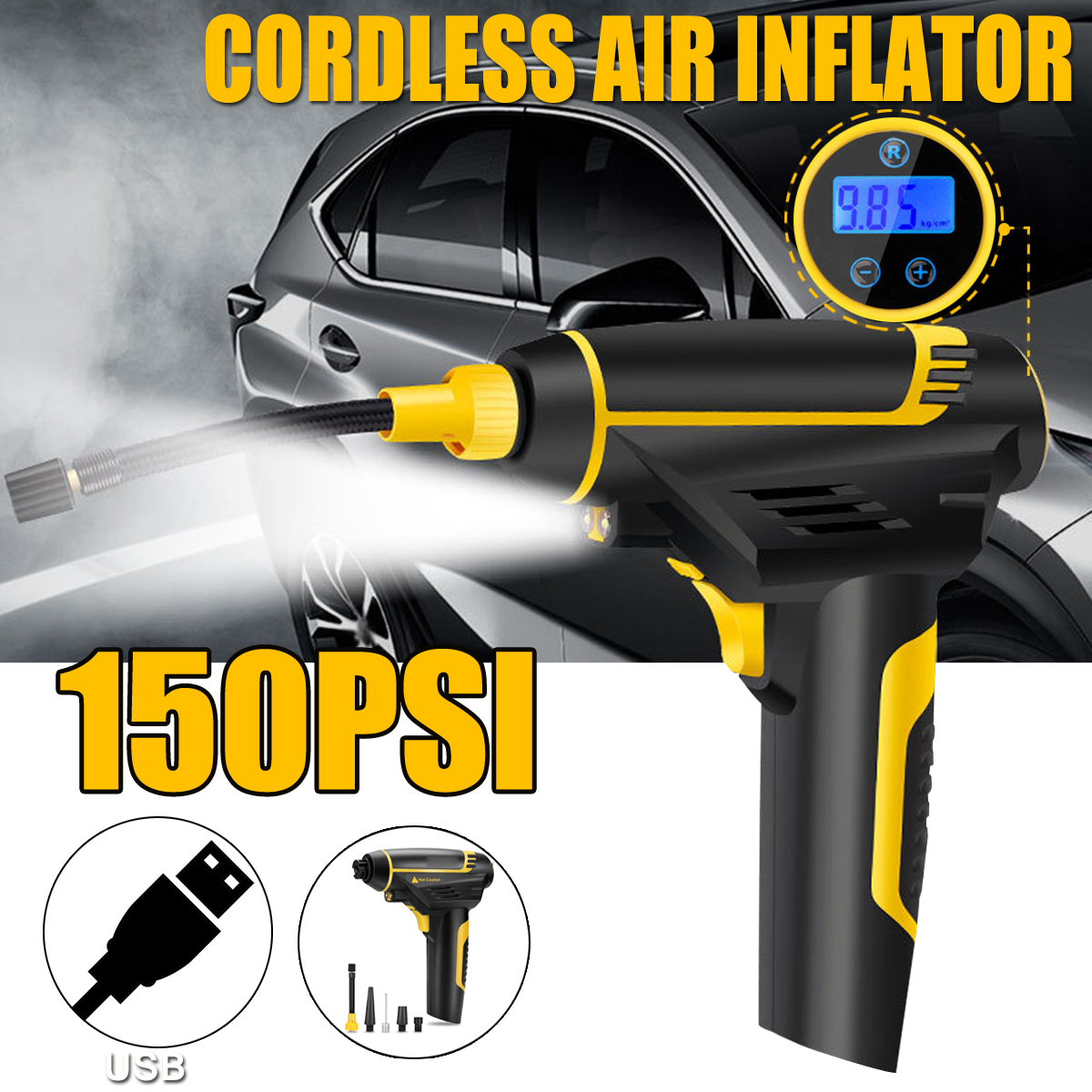 2200mA 120W 12V Portable Electric Tyre Inflator Cordless USB Air Compressor Pump With LED