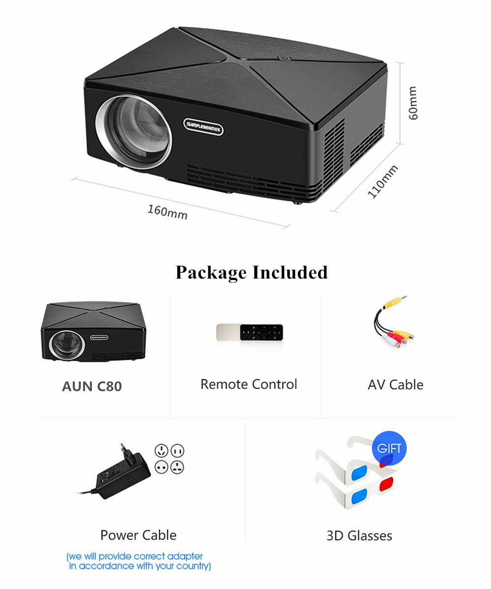 AUN C80 LED Projector LCD 2200 Lumens 1280x720 Resolution HD VGA USB Office Home Theater