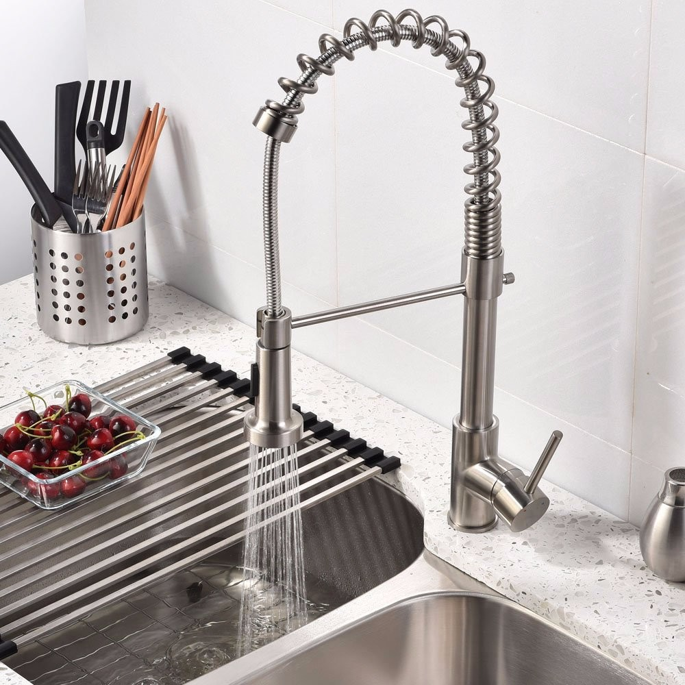 Nickel Brass Modern Mixer Tap Spring Single Lever Pull Out Spray Kitchen Bathroom Faucet New