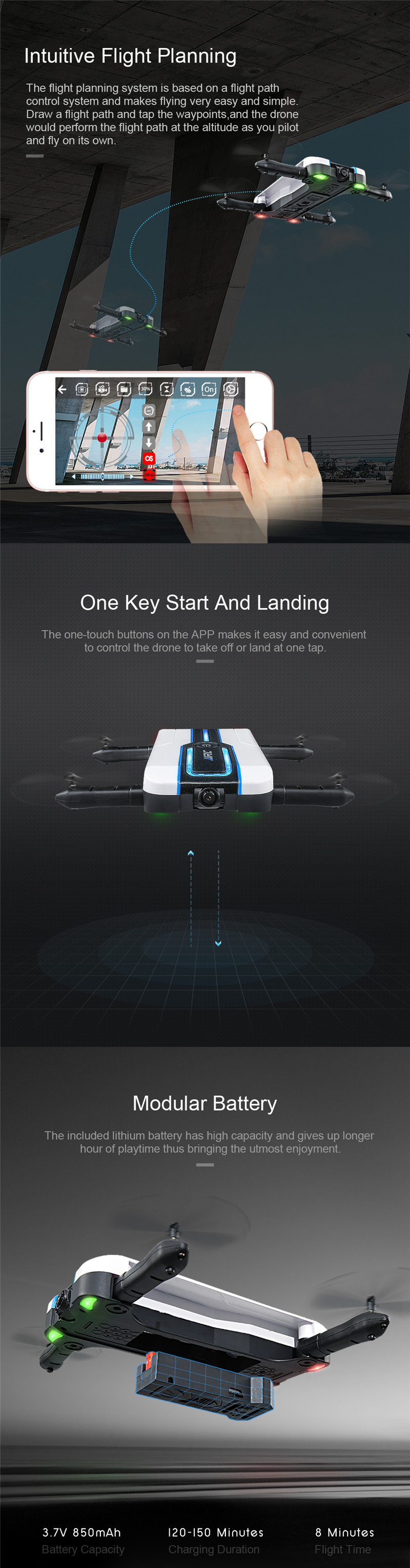 JJRC H61 Spotlight WIFI FPV Foldable Drone With 720P Camera Optical Flow Positioning RC Quadcopter