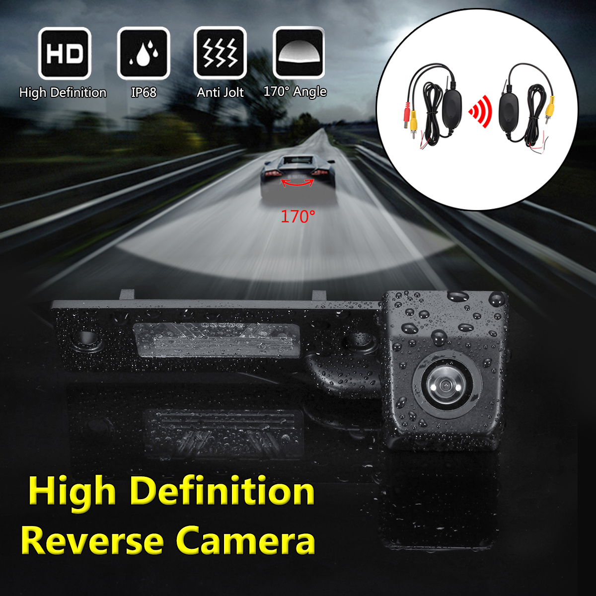 Wireless Car Auto CCD Reverse Backup Rear View Camera for VW Caddy Passat Jetta