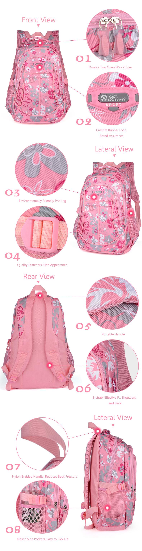 Children Backpack School Bag Flower Print Rucksack Boy Girl Tour Bags