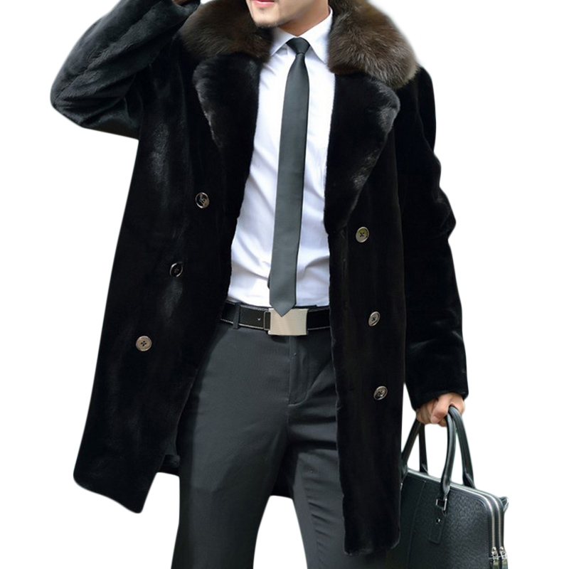 Mens Faux Fur Collar Winter Warm Double Breasted Woolen Coat