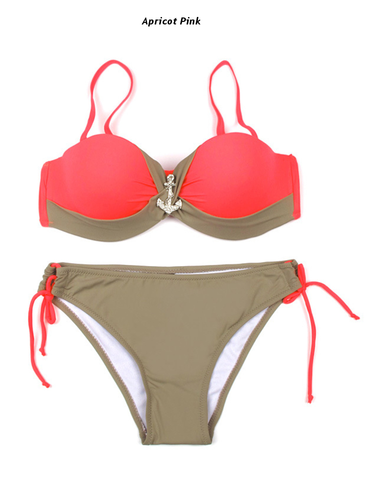 Women Sexy Underwire Push Up Bikini Set Ruched Adjustable Beachwear