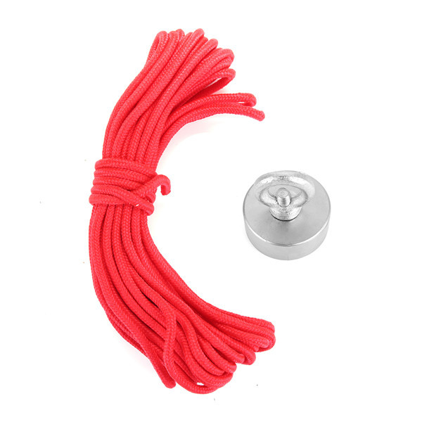 15kg 50mm Recovery Magnet 50mmx20mm Neodymium Magnet 304 Steel Ring with 10 Meters Rope