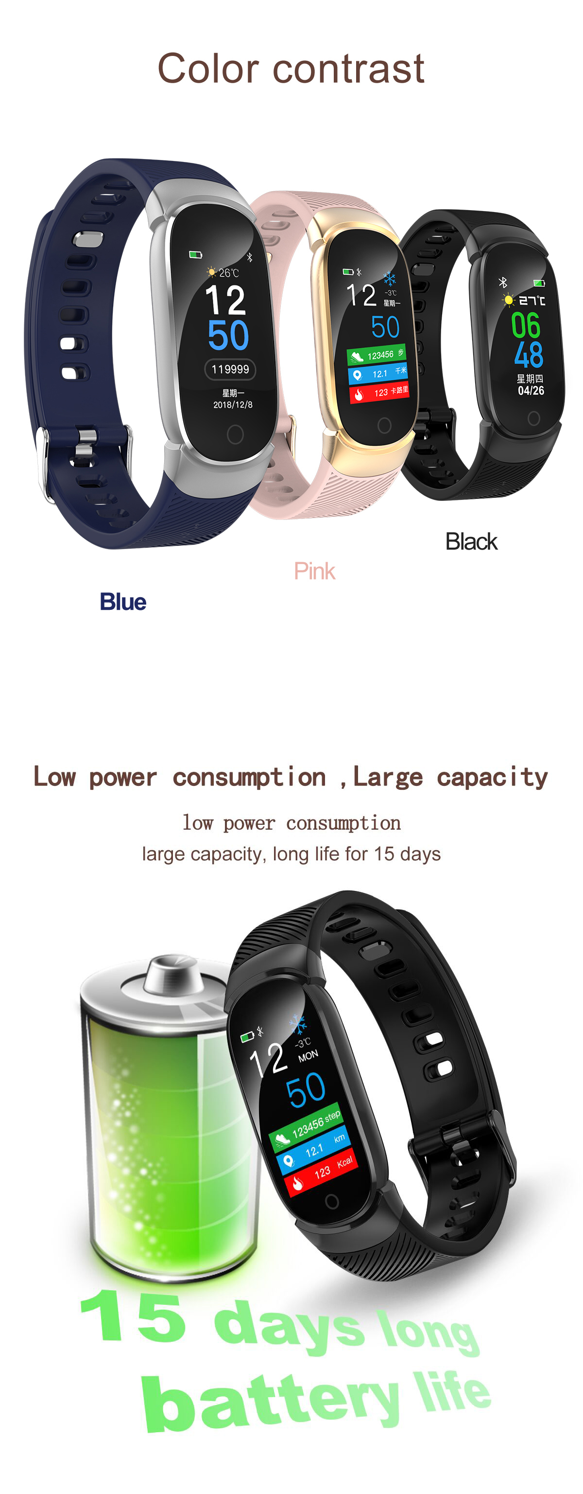 XANES® X5 0.96'' Color Screen IP67 Waterproof Smart Watch Heart Rate Monitor Information Push Fitness Exercise Wristband