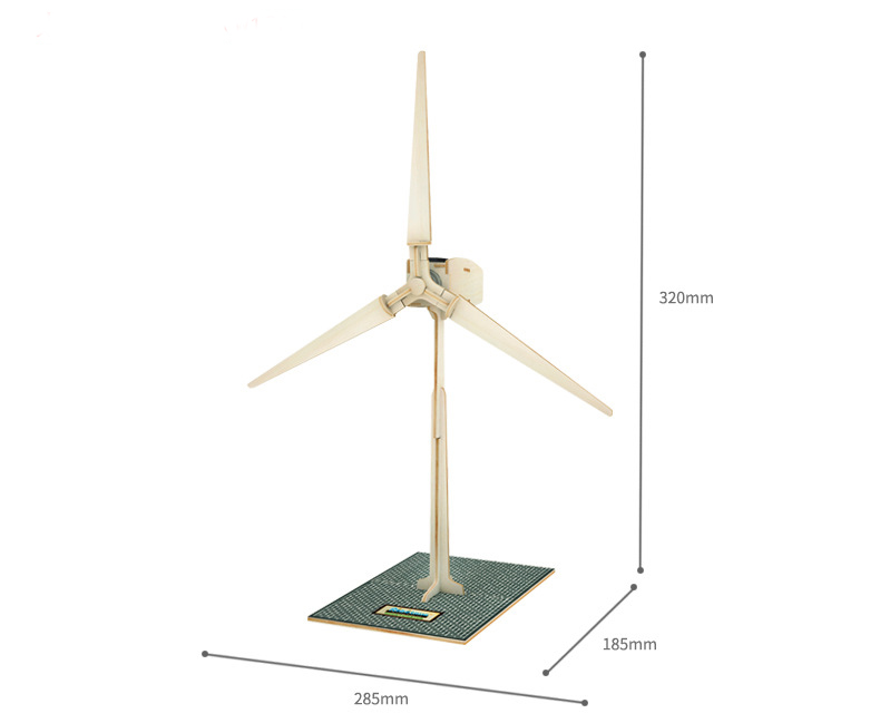 W100 DIY Wooden Solar Powered Painting Puzzle 3D Small Windmill Model Woodcraft Educational Toy