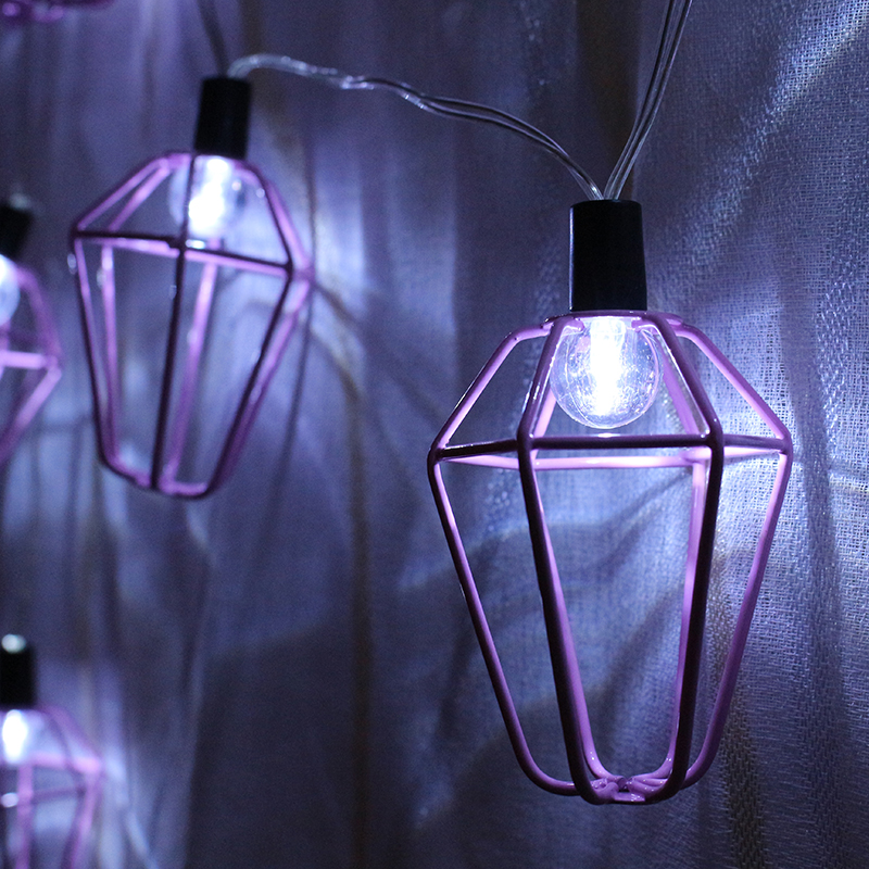 Battery Powered 1.4M 10LED Pink House Fairy String Light Christmas Holiday Decoration
