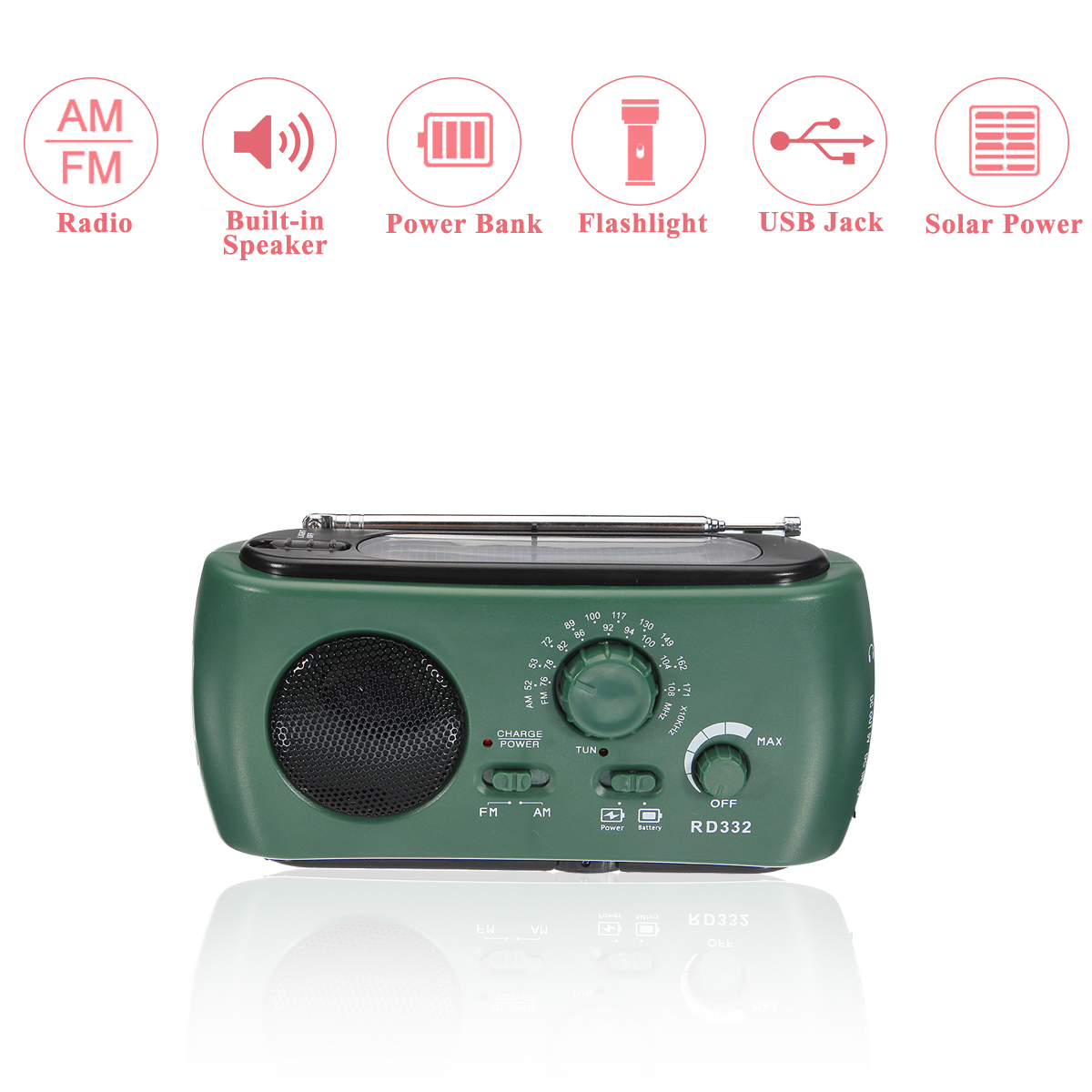 Emergency Portable Solar Crank AM/FM Weather Radio with LED Flashlight with Cell Charging Interface