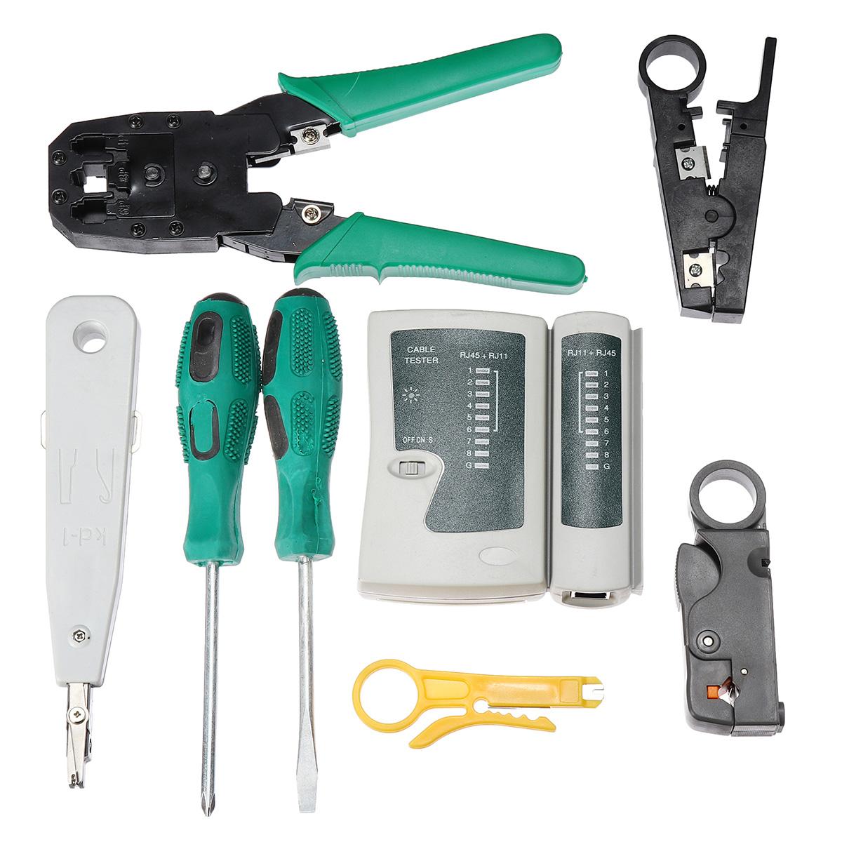 9pcs Cat5 RJ45 RJ11 RJ12 LAN Network Tool Kit Crimper Stripper Network Cable Tester Crimping Kit