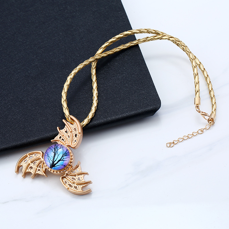 Unisex Trinity Angel Wings Chain Fidget Spinner Necklace for Women Men