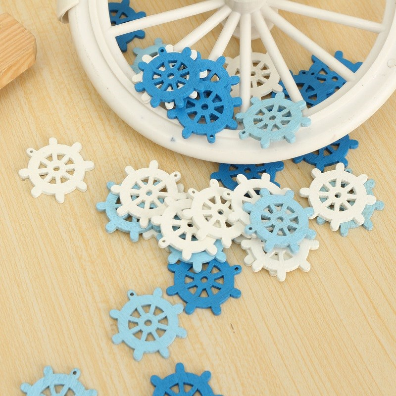 50pcs Wooden Mini Sea Boat Rudder Pendant Scrapbooking Home Decorations Handicraft Accessories
