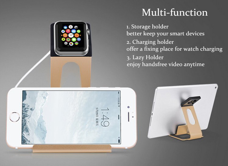2 in 1 Multi-function Charging Holder Aluminum Alloy Phone Stand for iPhone iPad iwatch Xiaomi