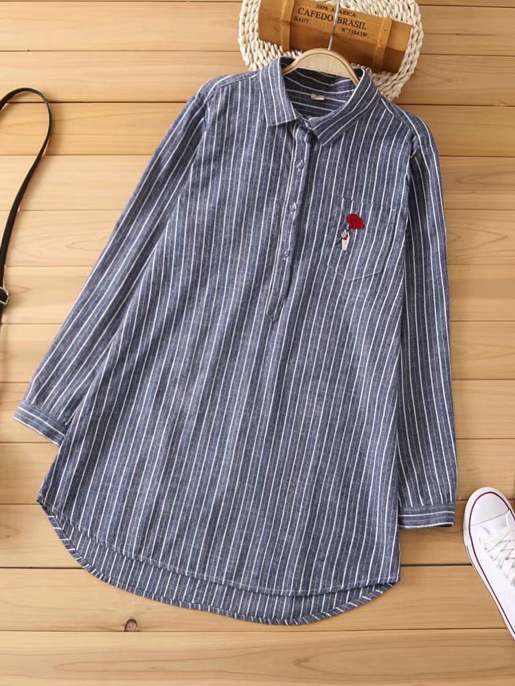 Irregular Stripe Embroidery Turn-Down Collar Casual Blouse
