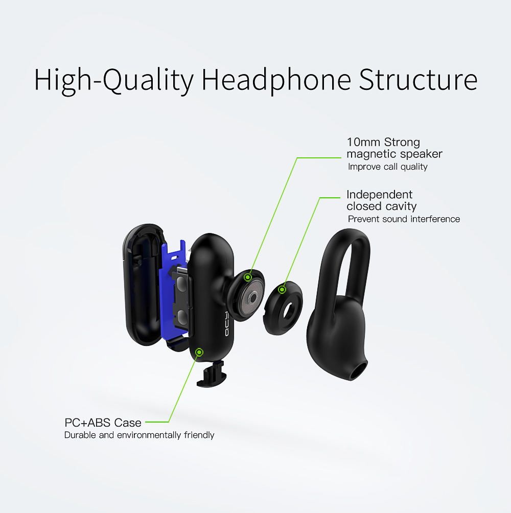 Xiaomi QCY Q12 Mini Invisiable Earphone Wireless bluetooth Noise Cancelling Single-headphone with Mic