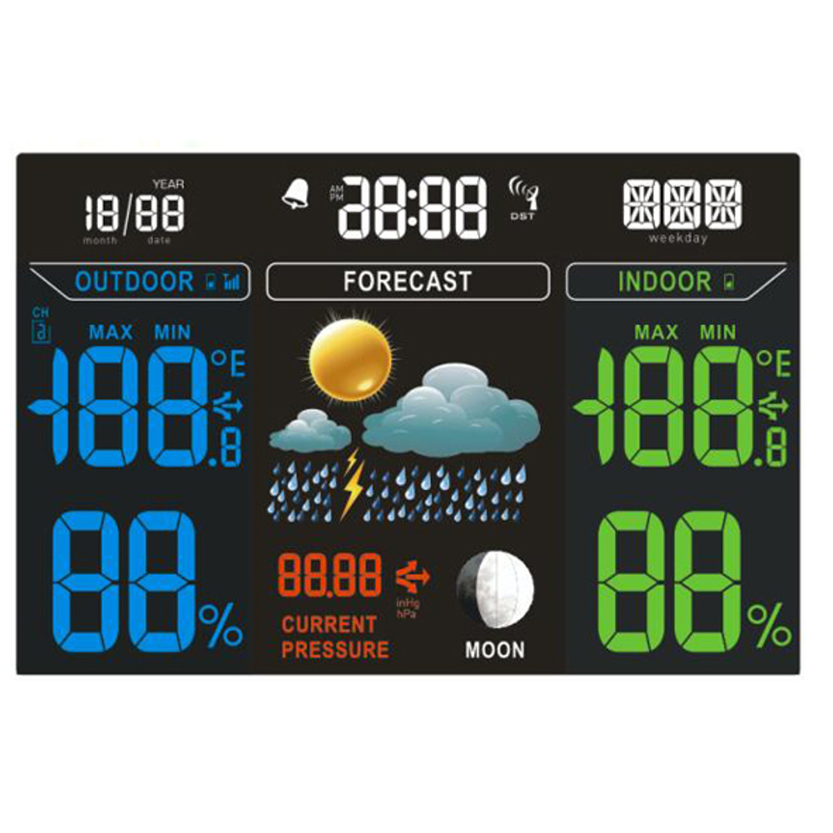 TS-70 Digital Wireless Weather Station Temperature Tester Thermometer Humidity Monitor with 2 Receivers