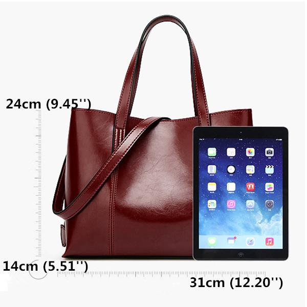 Women PU Leather Casual Handbag Large Capacity Tote Bag