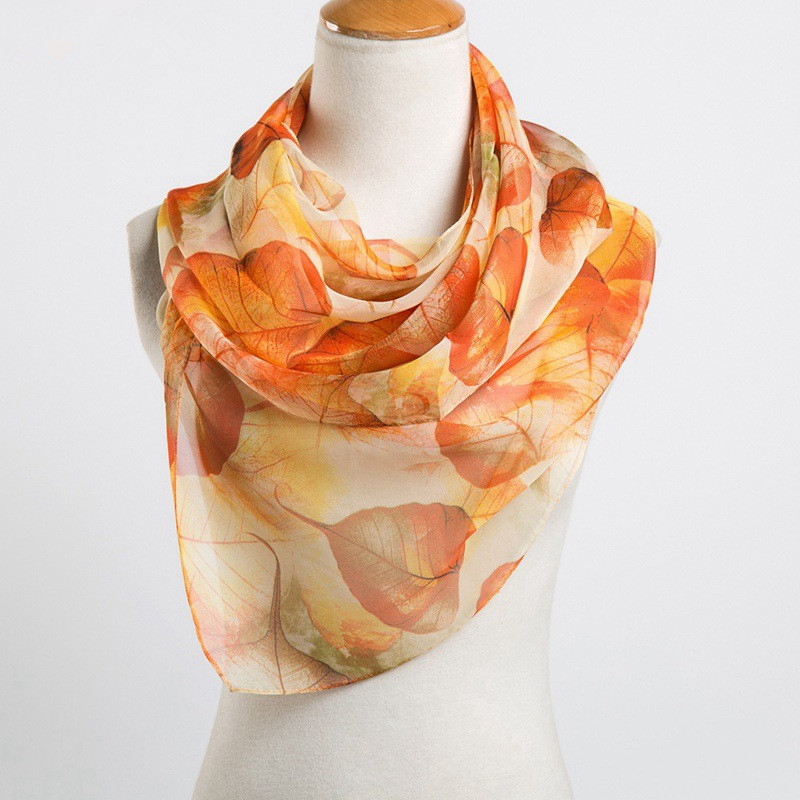 Women Georgette Oil Painting Scarves Soft Leaf Pattern Scarf Shawl
