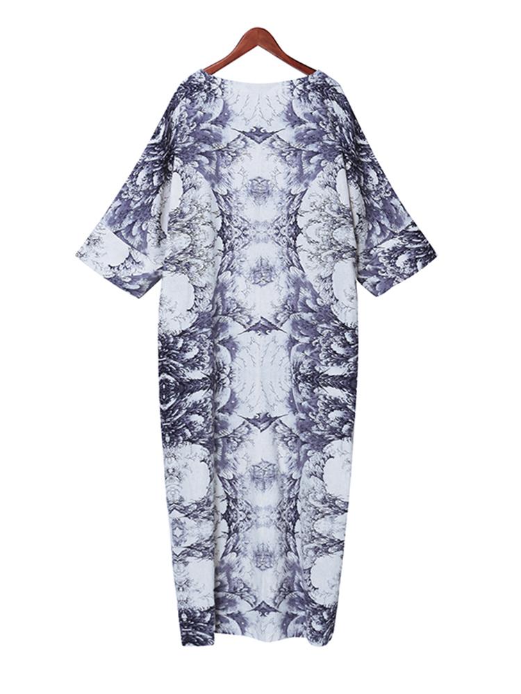 Casual Women Random Floral Printing Batwing Sleeve Maxi Dresses